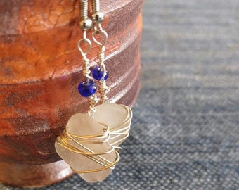 Wire Wrapped Sea Glass Earrings, locally collected seaglass