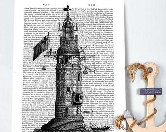 Lighthouse Winstanley Eddystone Lighthouse print lighthouse decor lighthouse art lighthouse bathroom print lighthouse drawing nautical print