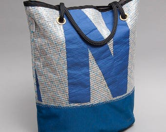 J24 recycled sail tote bag with pockets