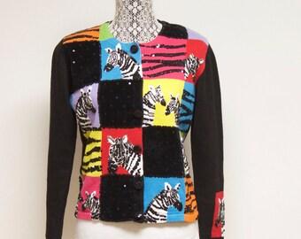 Vintage Zebra Sweater Cardigan size medium by Berek
