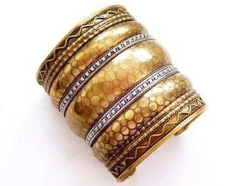 Huge Vintage Brass  Silver Cuff Bracelet, Mixed Metals Cuff Bracelet, Boho Bracelet, Textured Wide Cuff, Boho Cuff, Wide Brass Cuff