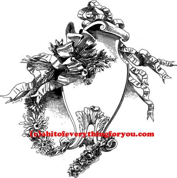 antique ornamental frame roses ribbons printable art clipart png jpg download digital vintage image graphics digital stamp black and white