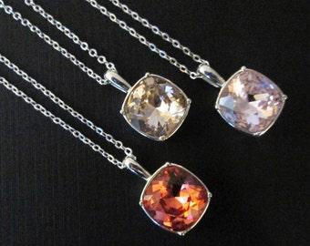 Silver Swarovski Necklace/Pink Crystal Bridesmaid Necklace/Blush Bridesmaid Jewelry/Swarovski Pendant/Swarovski Pendant Necklace
