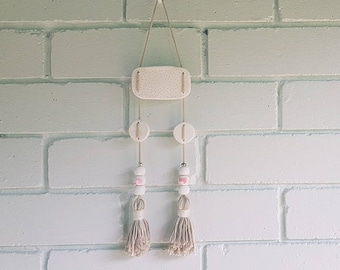 White & Pink Clay Tasselled Wall Hanging