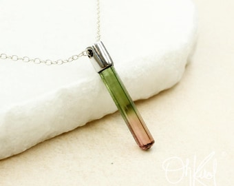 Silver Watermelon Tourmaline Necklace - Pink & Green Tourmaline - Raw Tourmaline
