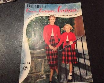 Vintage Fleisher's Cardigans knitting pattern book 1954