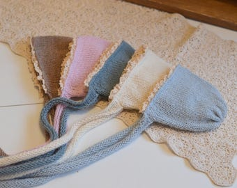 Lace edge NB bonnet alpaca with matching long knit wrap Newborn Baby photo props knitted ties vintage