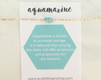 Aquamarine Healing Crystal Necklace, gemstone, March birthstone, aqua, green, gold, silver, aquamarine jewelry, gift, under 30, dainty, raw