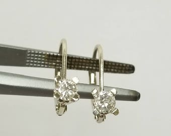 SI1 G Estate 14k White Gold .30ct Diamond Lever Back Earrings Hoops Studs Dangle .25ct .35ct GE44-2
