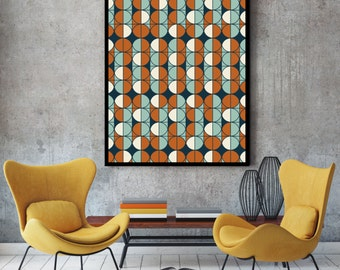 Pattern print, pattern art, geometric pattern, retro wall art, mid century print, retro print, retro poster, retro art, retro patterns