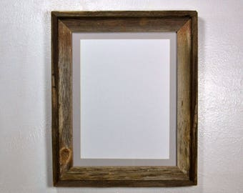 "Rustic wood picture frame with 9"" x 12"" gray mat fits 8x10,8.5x11,8x12 or 9x12, 20 mat colors available"