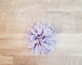 "4"" Eyelet Flower, large flower puff, fabric flower, Eyelet flower, DIY supplies, Headband flower, Lavender Flower, hollow fabric flower"