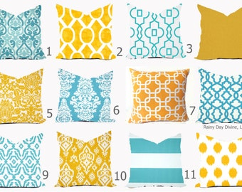 Pillow Cover Throw Accent Pillow - Aqua Turquoise Blue Yellow Modern Lattice Ikat - 16x16, 18x18