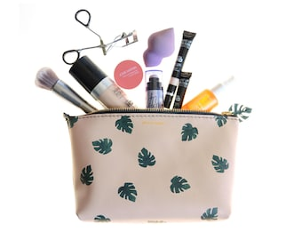 Leather Monstera Leaf Print Zip Pouch; Leather Makeup Bag; Leather Travel Bag; Leather Print Clutch