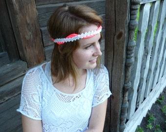 Fabric headband crochet headband boho headband bohemian hippie headpiece pink headband wrap bracelet fabric bracelet pink bracelet