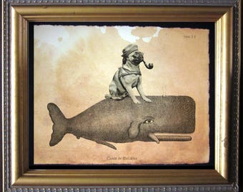 Pug Riding Whale - Vintage Collage Art Print on Tea Stained Paper -  dog art - dog gifts - mother's day gift