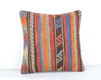 kilim pillow,16x16'',kilim cushion, toss pillow ,striped pillow cover, striped pillow case ,stripe throw ,pillow stripe ,pillow,2