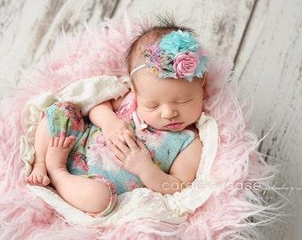 Garden Life - aqua floral chiffon pink satin rose headband baby bow