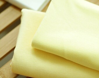 Solid Cotton Jersey or Ribbing Knit Fabric for Binding Necklines, Cuffs, Armholes - Lemon - By the Yard 95175