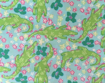 "alberta gator poplin cotton fabric square 18""x18"" ~lilly pulitzer"