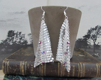 """Silver earrings, silver chainmail and Ruby Swarovski """"Ruby"""""""