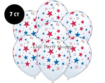 "White + Red and Blue Stars Balloons [7ct] 11"" Latex Patriotic Birthday July 4th Americana Election Party Decorations Supplies"