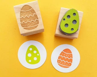 Pair of Easter Eggs Rubber Stamps - Egg Rubber Stamp - Easter Rubber Stamp - Chocolate Rubber Stamp - Easter Craft