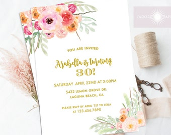 Adult Birthday Invite, Floral Printable Adult Birthday Invitation, Watercolor Flowers, Pink, Coral, Blush, Birthday Party, jadorepaperie