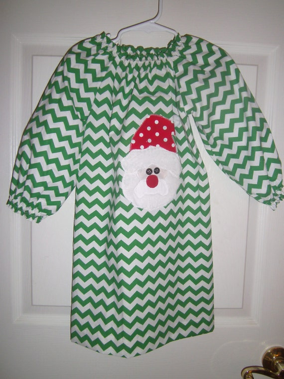 Girls Christmas Dress,Handmade, Santa, Green Chervon, Peasant Style,Free Bow,  Newborn- girls 10