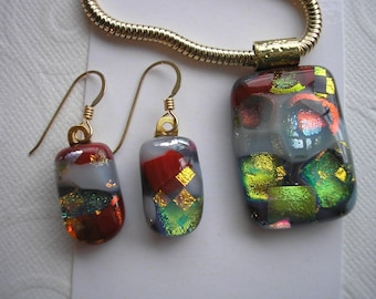 Dichroic Glass Jewelry Set Gray Pearl with Red and Gold Matching Earring and Pendant Gold Earwires Thick Snake Chain Necklace Fused Glass
