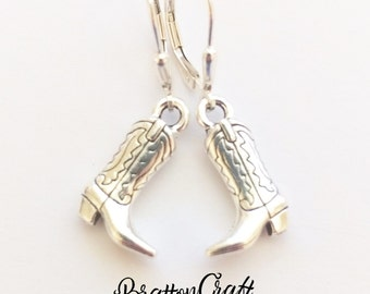 Silver Cowboy Boot Earrings - Western Boot Earrings - Cowgirl Boot Earrings - Cowboy Boot Earrings - Cowboy Jewelry