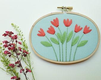 Tulip Garden Hoop Art. Hand Embroidered Hoop Art. 3.5 x 5 inch Hoop. Hand Embroidery. Floral. Hand Stitched. Fiber Art. Wall Art. Decor.