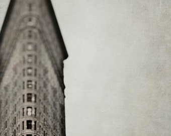 New York Print, Flatiron Building, Brown, Beige, New York Photography, Vertical Print