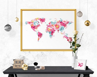 Floral map poster etsy world map wall art world map poster wanderlust gift world map travel map world map wall decal rustic home decor printable map floral gumiabroncs Image collections