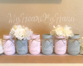 Pink and Gray Baby Shower Centerpieces, Elephant Baby Shower Decor, Rustic Wedding Centerpieces, Farmhouse Decor, Painted Mason Jars, Girl