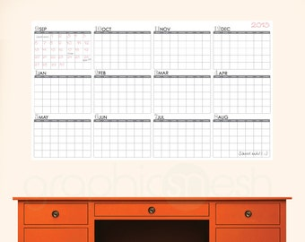 ACADEMIC YEAR BLANK Calendar - September thru August - Dry Erase Wall Decal