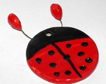 Ceramic Ladybug Tiles 5.5cm - Red Ladybug Ornament - Ceramic Decoration - Handmade - Handpainted