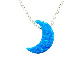 Crescent Moon Necklace/Half Moon Necklace/Moon Pendant Necklace/925 Sterling Silver Chain Half Moon Opal Charm/Moon Fashion Jewelry Women