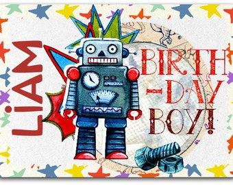 Kids birthday card robot custom personalized 12.5 cm x 17 cm with envelope