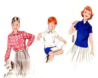 Vintage 1950s Sewing Pattern Butterick 7602 Quick And Easy Boys' And Girls' Sport Shirt