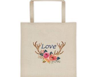 Deer Horn Love Tote bag