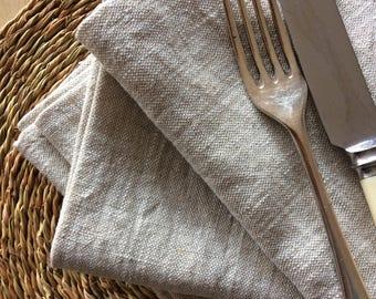 Set of 6 natural linen napkins.