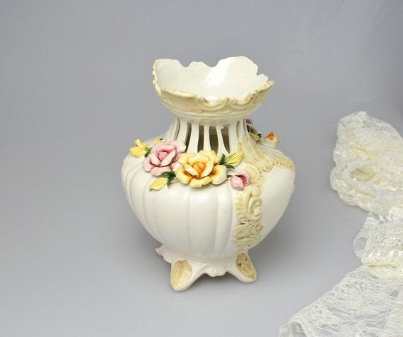 Vintage Capodimonte Vase Italian Porcelain Vase Collectible