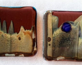 Art Glass Fused Abstract Landscape Handmade Coasters, Accent Tiles, Trivets