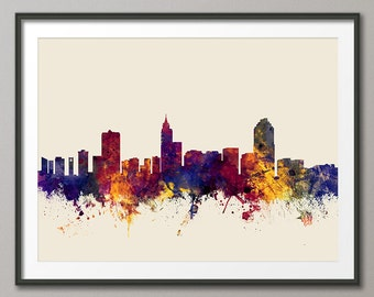 Raleigh Skyline, Raleigh North Carolina Cityscape Art Print (1772)