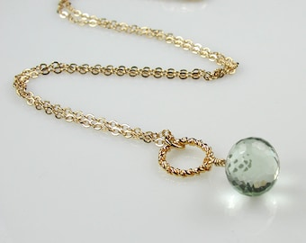 Green Amethyst and Gold Pendant Necklace Light Green Prasiolite
