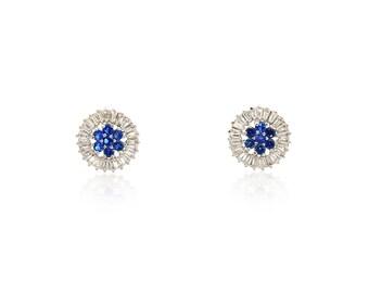Stud earrings, Minimalist earrings, sapphire earrings, Baguette, Majestic blue, Royal blue, Dark blue, Baguette earrings, unique earrings,