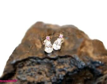 White Sapphire Earrings, Sterling Silver Stud Earrings, Pear Shape Earrings, Two Stone Earrings