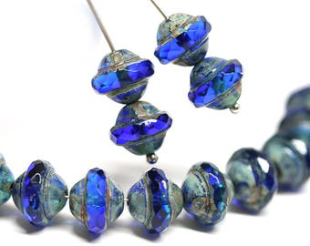 Dark Blue saucer beads UFO shape Picasso czech glass fire polished bicone beads 8x10mm Cobalt blue saturn beads 10pc - 2039