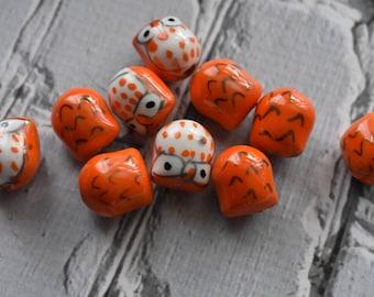 Orange Ceramic Owl Beads - Cute Nature Beads- Owl Bird Painted Bead - Owl Jewelry Supply- pack of 10